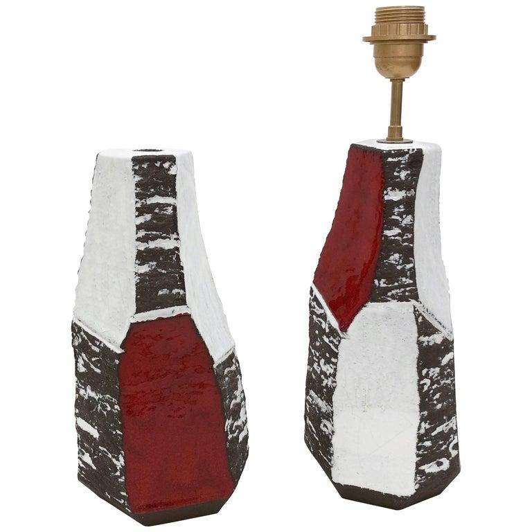 Salvatore Parisi, Pair of Faceted Ceramic Table Lamps
