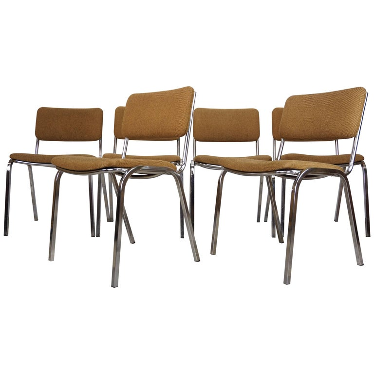 Chromed and Tweed Set of Six Chairs French Design from the 1960s
