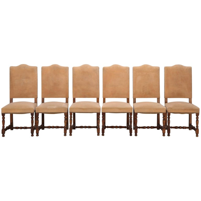 Antique French Dining Side Chairs, Set of Six