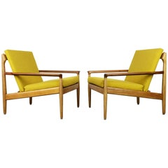 Rare Pair of Early 1950 Aksel Bender Madsen lounge chairs for Bovenkamp Oak Teak