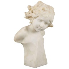 Antique Italian Figural Carved Marble Portrait Bust Sculpture, Young Girl