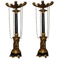Pair of 19th Century Empire Gilt Bronze Five Branch Candelabra