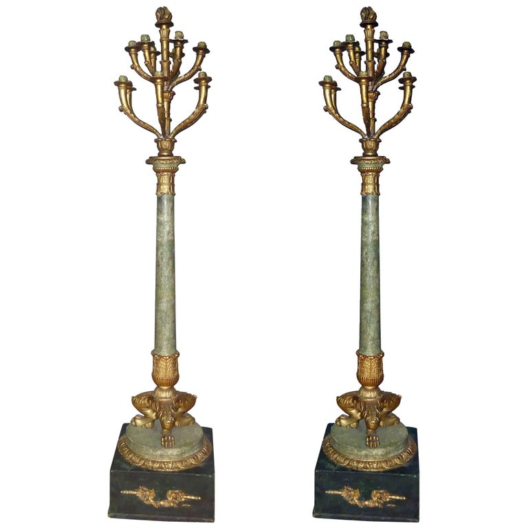 Pair of Early 19th Century French Empire Carved Giltwood and Faux Marble Torch