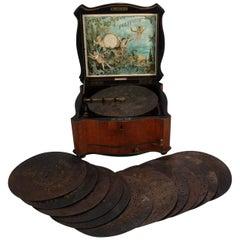 Antique Inlaid Walnut Schutz & Marke Polyphon Music Box & 13 Discs, circa 1890