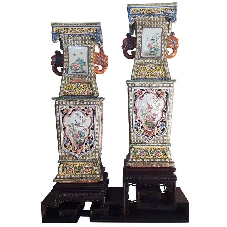 Large Pair of Famile Rose Square Balaster Vases
