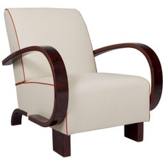 Art Deco Walnut Armchair, Period 1930-1939, Completely Restored to High Gloss