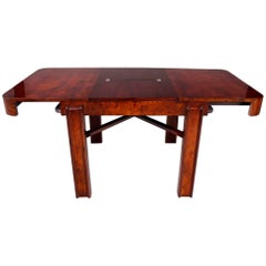 Unique Czech Large Walnut Art Deco Extendable Dining Table, High Gloss