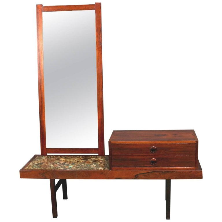 Mid-Century Modern Milo Baughman School Rosewood and Natural Stone Vanity For Sale