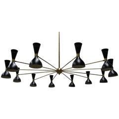 Massive Midcentury Design Italian Chandelier, 1950s Stilnovo Black Gold