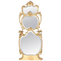 Antique French Rococo Giltwood Tiered Foliate Pier Mirror, 19th Century