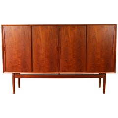 Danish Design Highboard / Cabinet by Gunni Omann in Sculpted Teak, 1950