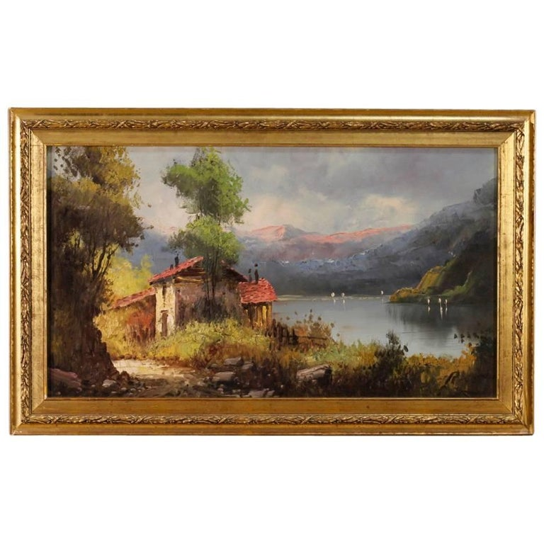 Italian Signed Painting Landscape with Lake View Oil on Canvas from 20th Century
