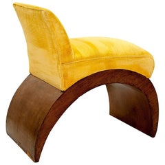 Art Deco Period Low Chair, with Yellow Fabric, Walnut Veneer and Is Arched Foot