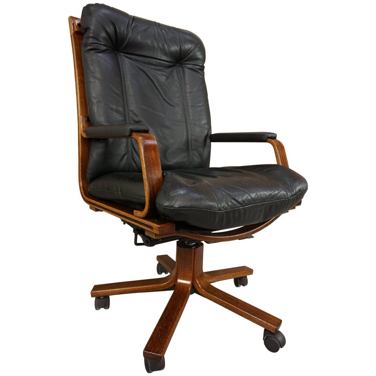 Scandinavian Style Wooden And Black Leather Swivel Office Armchair For