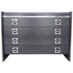 Black Wooden and Chromed Chest of Drawers