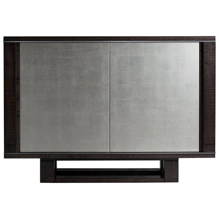 Amba Side Cabinet, High Gloss Sycamore Grey, White Gold Leaf and Polished Nickel For Sale