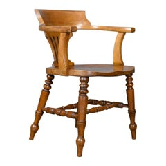 Bow-Back Armchair, English, High Wycombe, Elm, Smokers, Captains, circa 1900