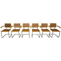 Set of Six Armchairs Cesca B64 Model Marcel Breuer Design