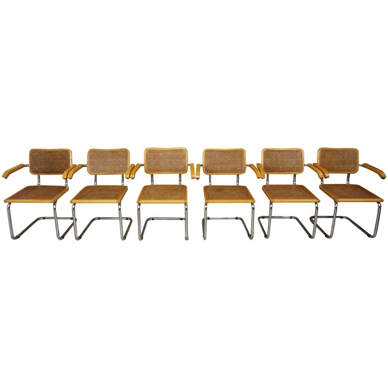 Set of Six Armchairs Cesca B64 Model Marcel Breuer Design For Sale