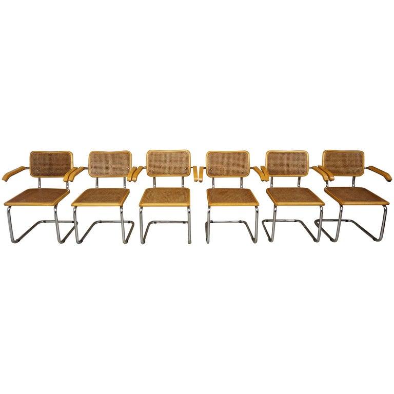 Set of Six Armchairs Cesca B64 Model Marcel Breuer Design