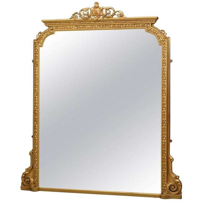 English Victorian Overmantel Mirror For Sale
