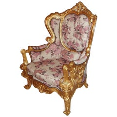Giltwood Baroque Throne Armchair, Reupholstered