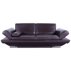 Gio Mano Leather Sofa Brown Two-Seat Function Couch