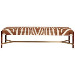 """Raj"" Bench in Imbuia Wood and Brass Details, Zebra Stripe Pattern"