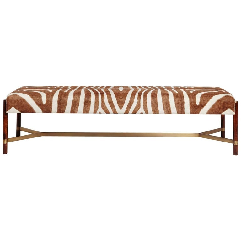 """Raj"" Bench in Imbuia Wood and Brass Details, Zebra Stripe Pattern For Sale"