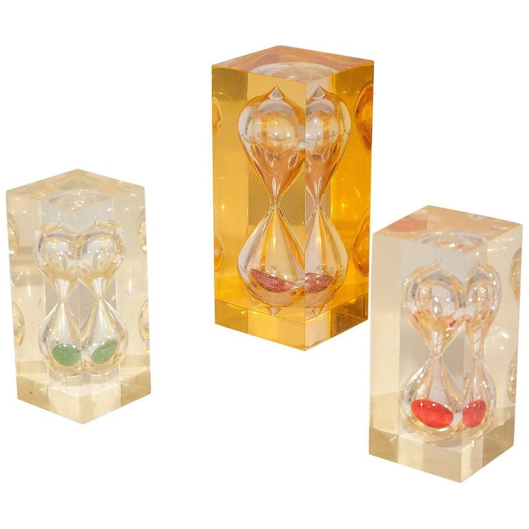 Set of Different Sizes French 1970 Resin HourGlass in the Style of Giraudon