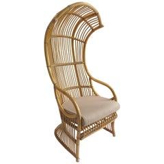 1970s Vintage Italian Franco Albini Bent Rattan Cobra Canopy Chair