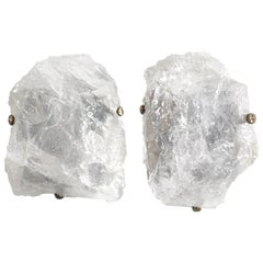 Pair of Natural Rock Crystal Quartz Wall Sconces