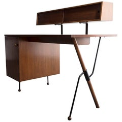 Desk in Walnut and Iron with Pencil Box, by Greta Magnusson Grossman, 1952