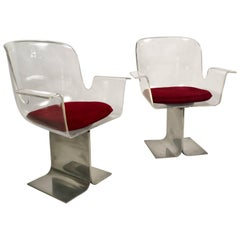 Pair of Pace Lucite & Aluminum Dining or Conference Swivel Chairs by I.M. Rosen