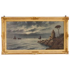 Italian Seascape Signed Painting Oil on Canvas from 20th Century