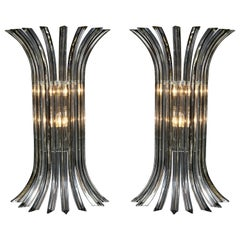 Large Pair of Venini Style Murano Glass Sconces in Clear with Black Vein, Italy