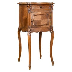 Antique, Bedside Cabinet, French, Walnut, Marble Top, Pot Cupboard, circa 1890