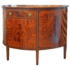 Elegant 19th Century English Georg III Inlaid Mahogany Demilune Console Cabinet