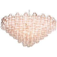 "One of a Kind Champagne Pink Murano ""Mabubri"" Glass Chandelier, Italy"