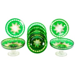 Stevens & Williams Green, Saffron Cut to Clear 2 Compotes and 6 Dessert Plates