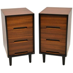 1950s Vintage Pair of Walnut Bedside Chests by John & Sylvia Reid for Stag