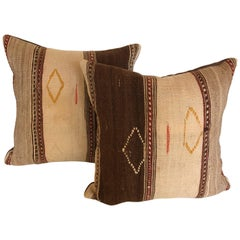 Custom Pillows Cut from a Vintage Moroccan Hand-Loomed Wool Ourika Tribal Rug