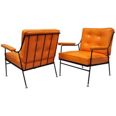 Pair of Wrought Iron & Orange Vinyl Lounge Chairs attr Milo Baughman for Pacific