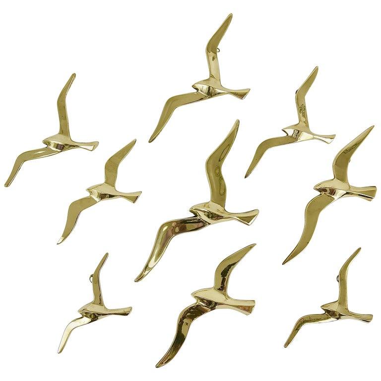 Nine Wall-Mounted Midcentury Seagull Bird Brass Sculptures, Austria, 1950s
