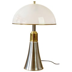 Gae Aulenti 'Pipstrelli' Style Oversized Mid-Century Chrome and Brass Table Lamp