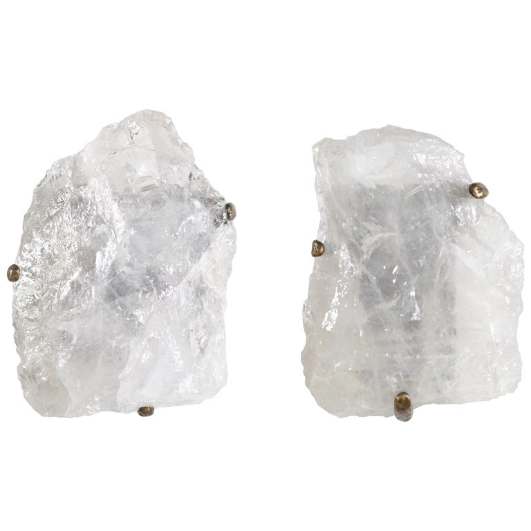 Large Pair of Natural Rock Crystal Quartz Wall Sconces