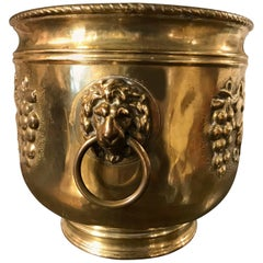 Dutch Brass Wine Cooler with Lion Heads and Grape Vine Decoration
