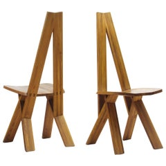 Pair of Pierre Chapo S45 Chairs in Solid Elm, France 1970s