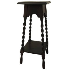 Tall Arts & Craft Vintage Plant Stand with Four Turnwood Legs