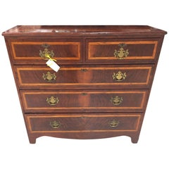 English Walnut Chest of Drawers with Satinwood Banding
